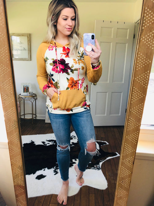 Shine Your Light Mustard Floral Hoodie