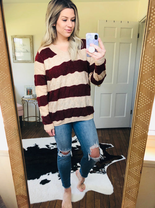 Waves Of Emotion Wine and Tan Striped V-Neck Lightweight Knit Sweater