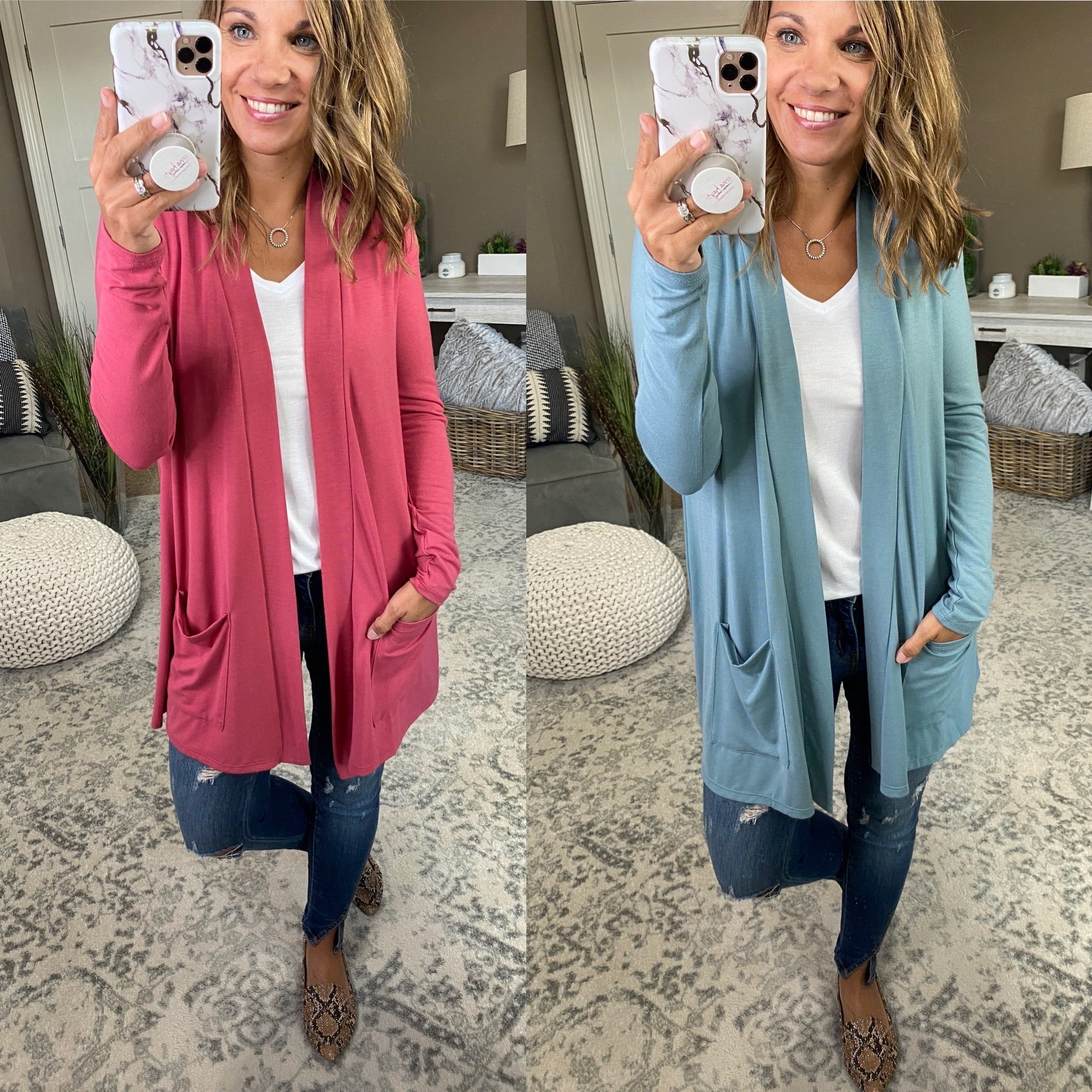 Floating On A Cloud Midi Cardigan with Pockets- Multiple Options