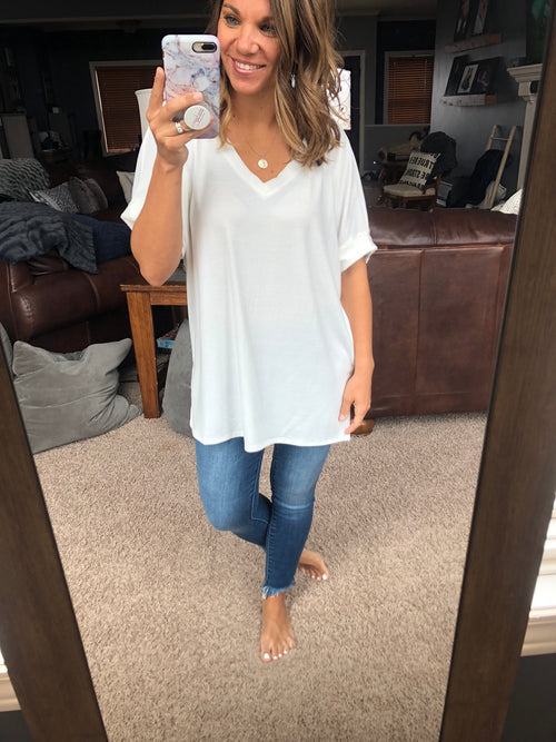 Back Roads White Rolled Sleeve V Neck Tee