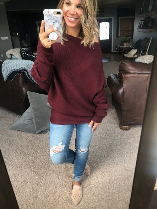 Born To Be Yours Ribbed Asymmetrical Sweater - Burgundy