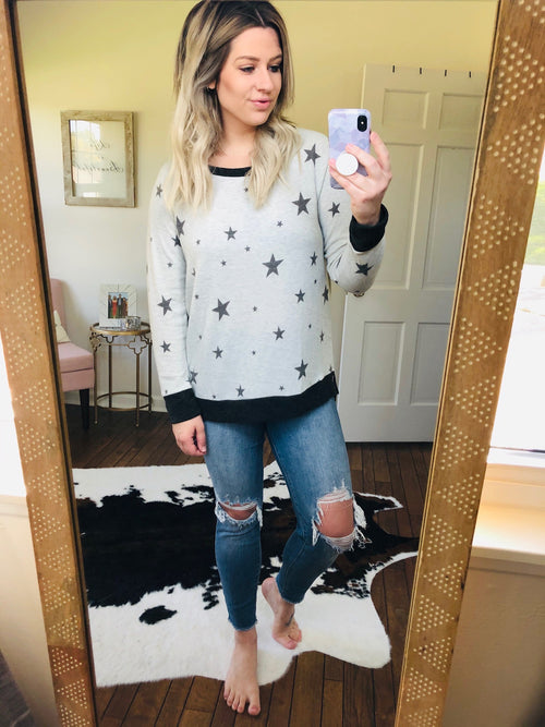 Latenight Stars Grey and Charcoal Star Lightweight Sweater