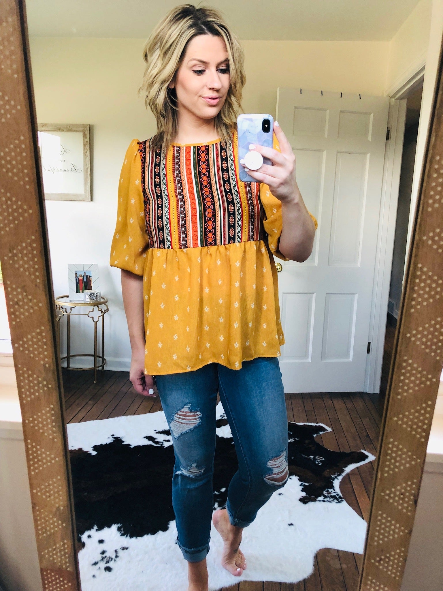 My Story Mustard 3/4 Sleeve Mixed Pattern Peasant Top
