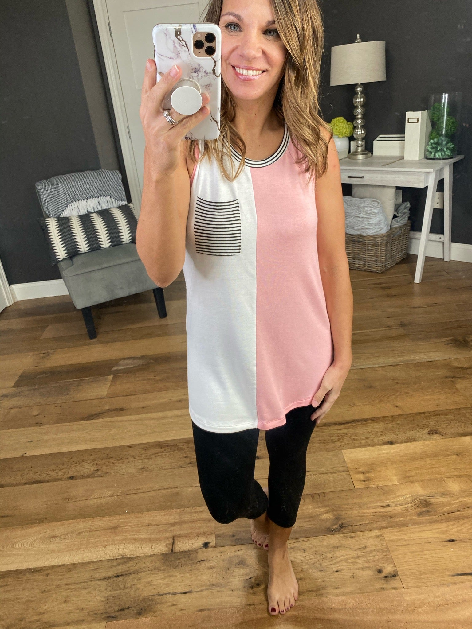 Loved Me Pink and Ivory Colorblock Tank with Striped Back and Pocket
