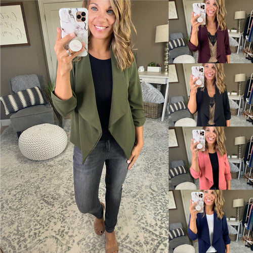 Independent Woman Open Front Blazer 3/4 Cinched Sleeve - Multiple Color Options