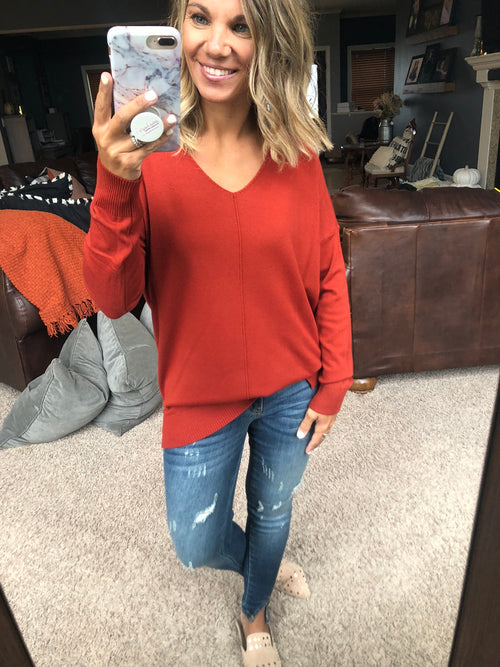 I Think I'm In Love Buttersoft V-Neck Exposed Seam Sweater- Sienna