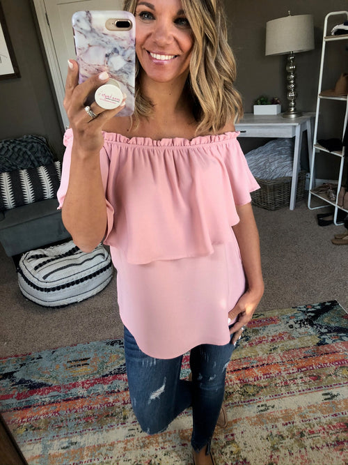 Party On 5th Ave Pink Off Shoulder Top