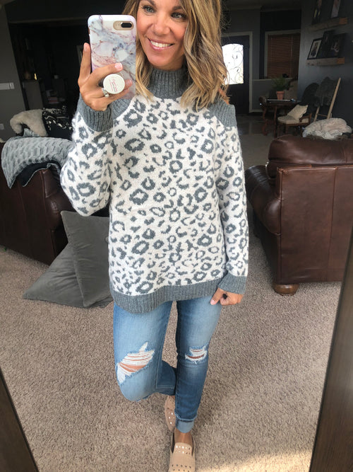 Turn To You Grey Cold Shoulder Cheetah Sweater
