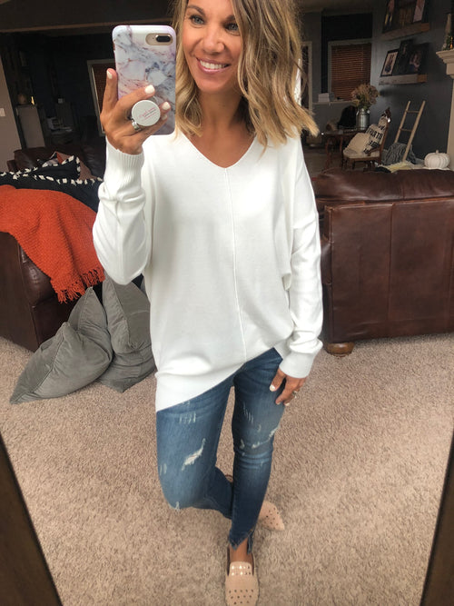 I Think I'm In Love Buttersoft V-Neck Exposed Seam Sweater- Ivory
