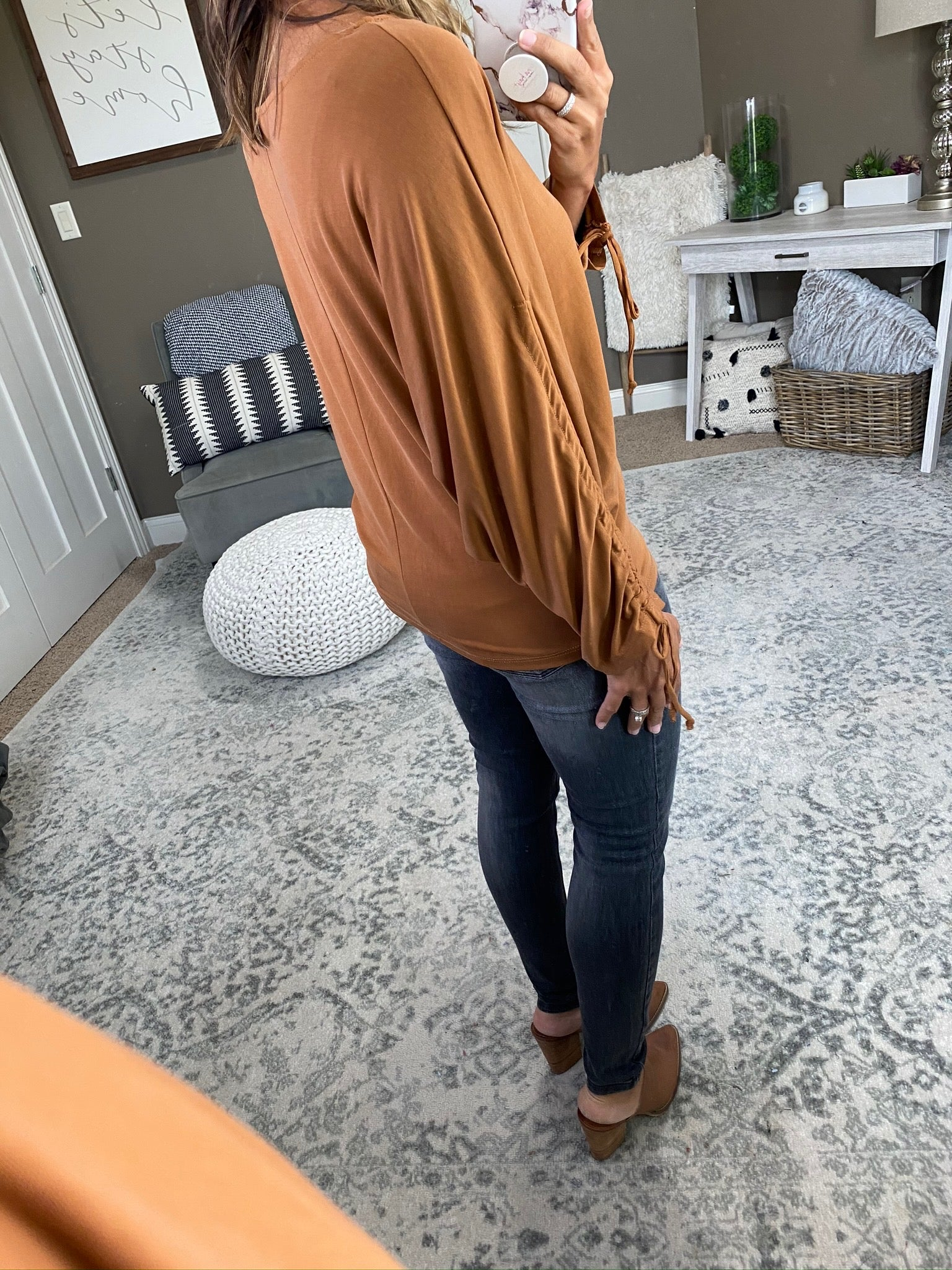 Not Losing Sleep Copper Boatneck Dolman with Ruched Sleeve