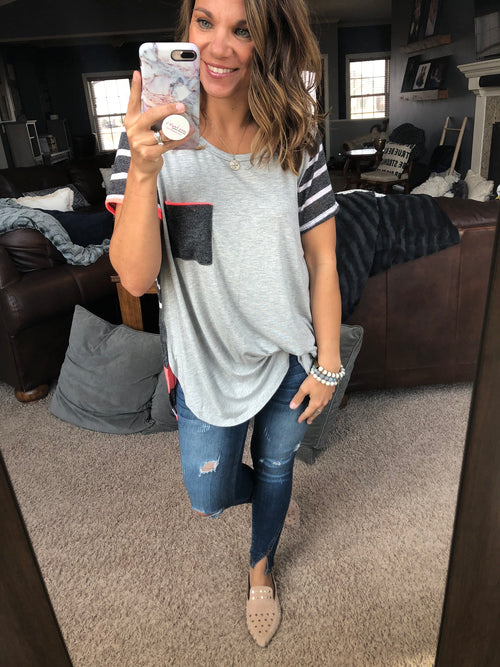 On My Mind Grey Mix Tee w/ Neon Highlights