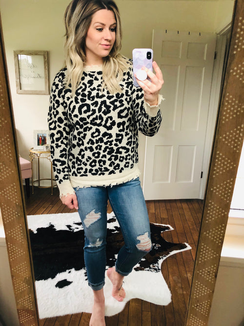 Love Wins Cheetah Distressed Sweater