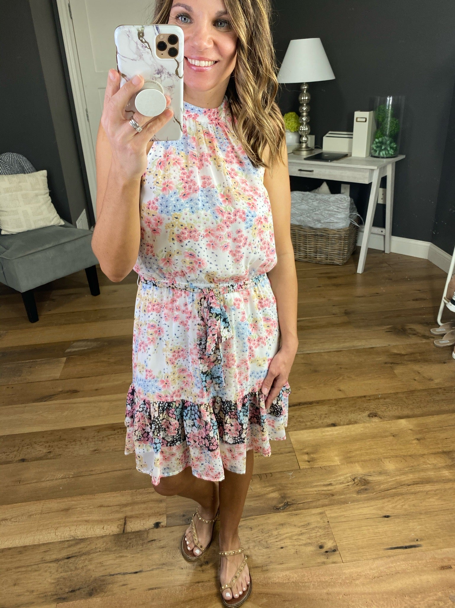 Beautiful Life Ivory Halter Dress with Floral Print & Black Details