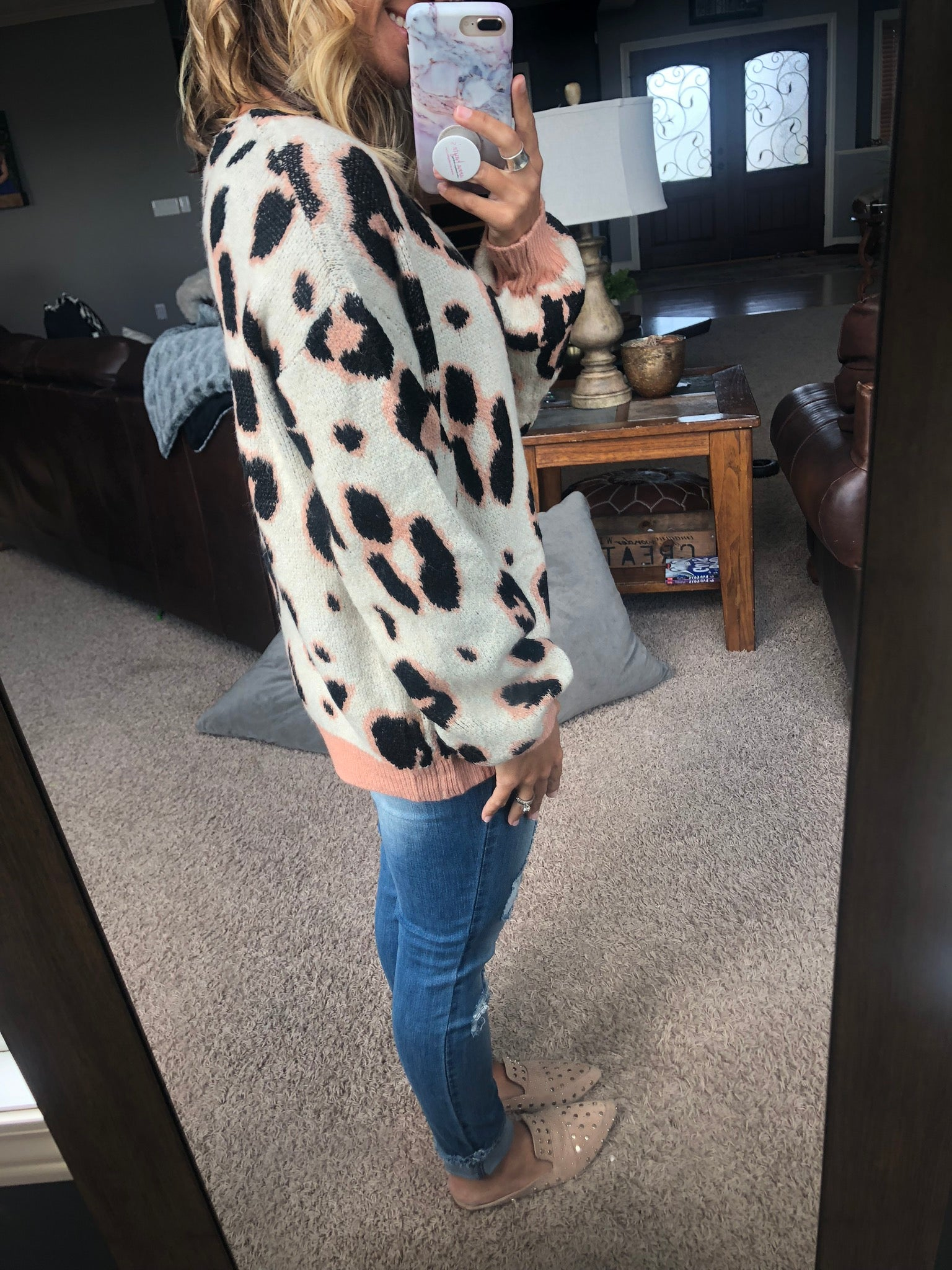Touches Of Pink Cream Animal Print Sweater