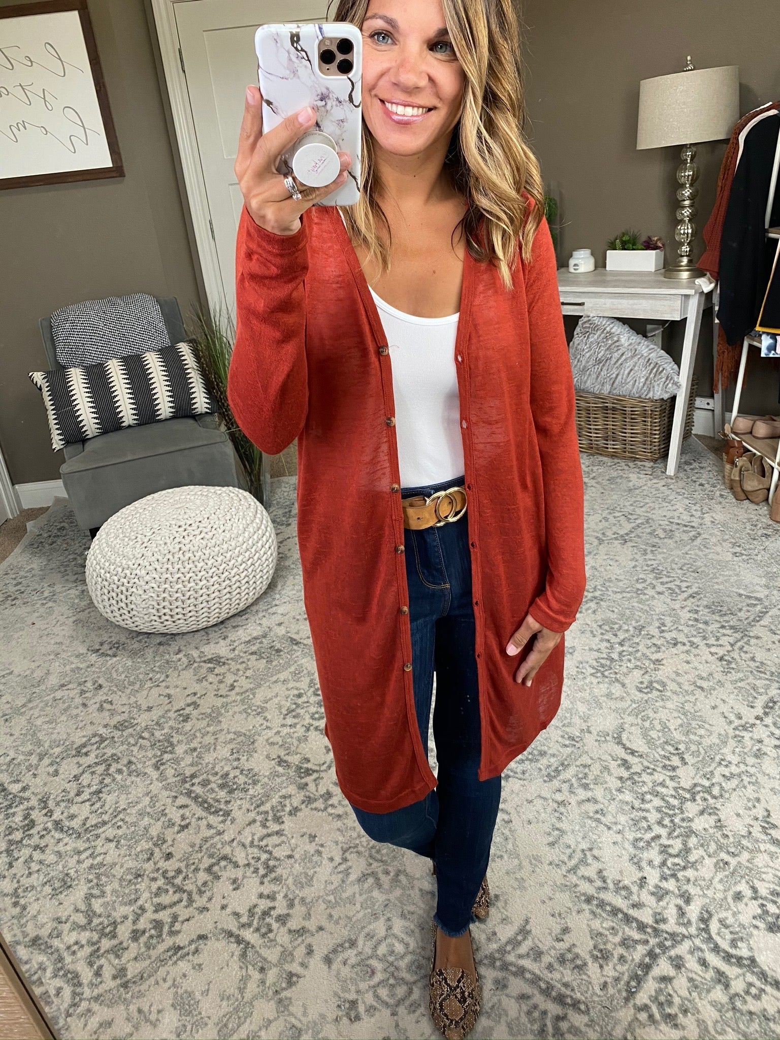 Like We Do Rust Lightweight Burnout Knit Button Mid-Length Cardigan with Pockets