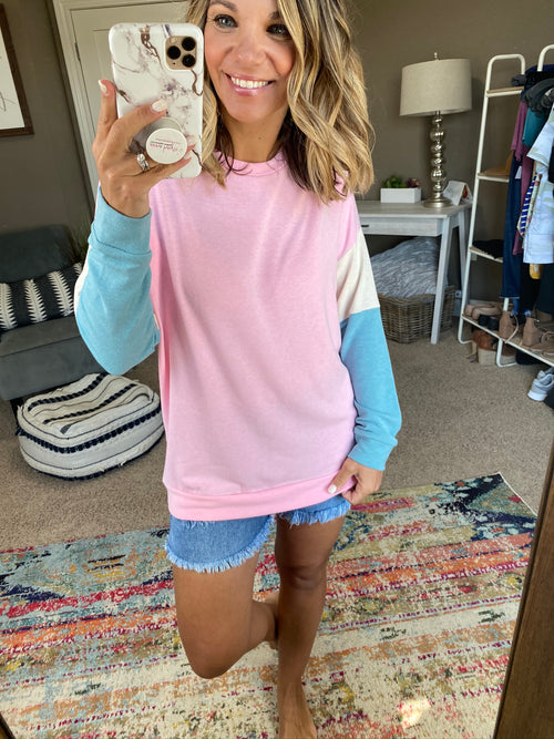 Quick Glance Pink Long Sleeve with Cream & Blue Color Block Sleeve