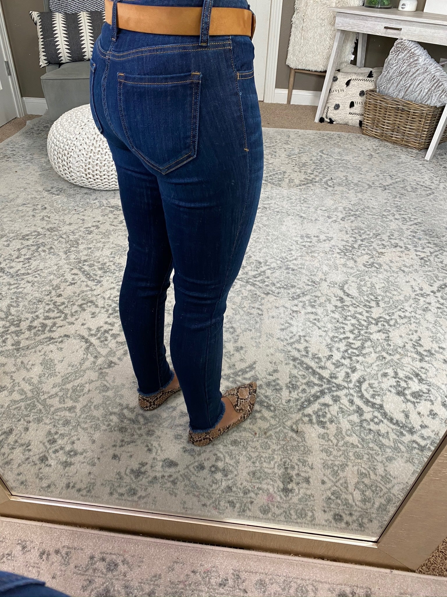 I'm All In Mid Rise Dark Wash Cropped Skinny Jean