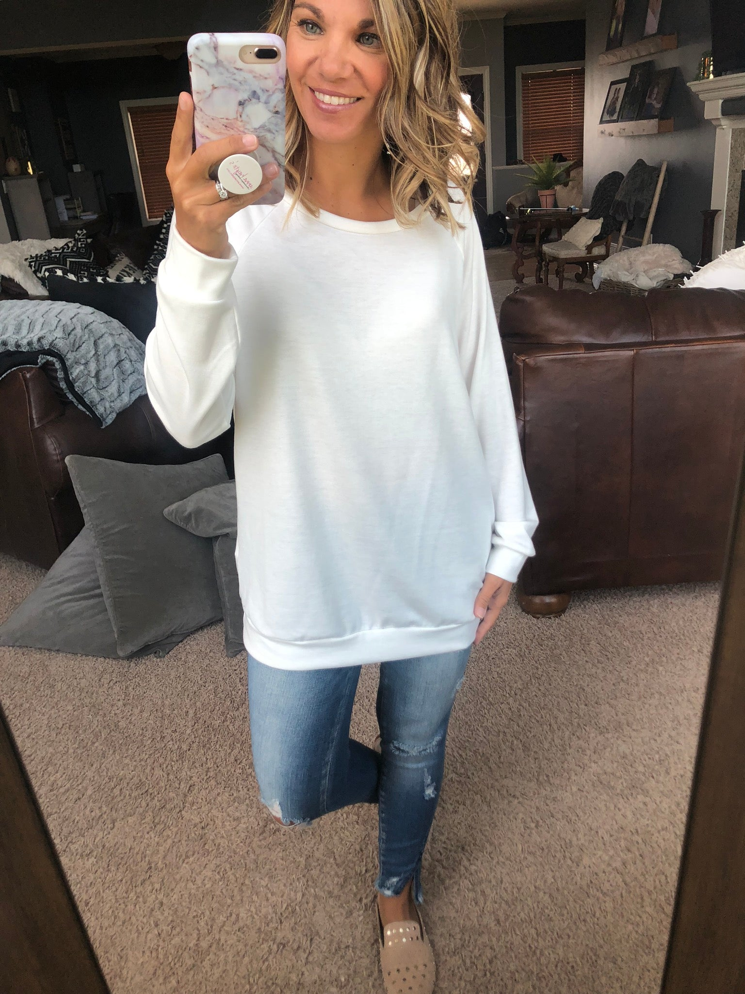Cool Girl Banded Long Sleeve Tee- Ivory