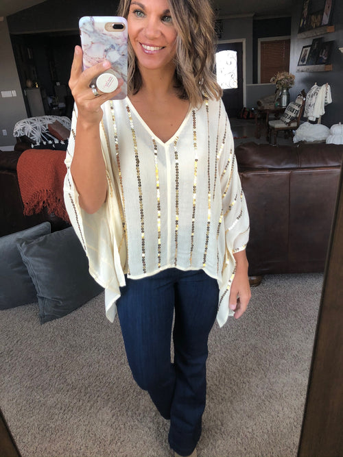 All In The Details Ivory Blouse with Gold Sequin Detail