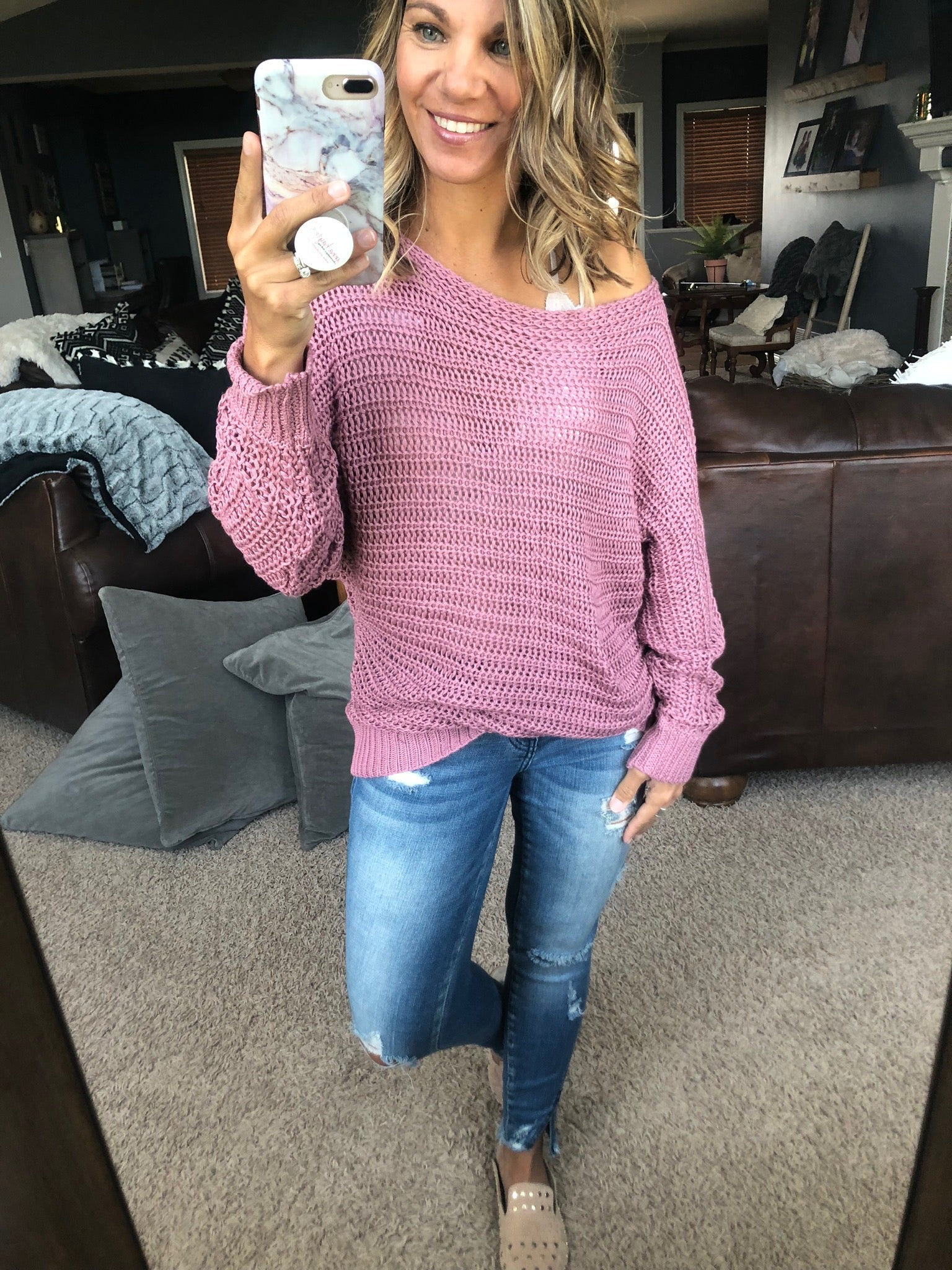 I Hope You Know Dusty Rose Loose Knit Dolman Sweater