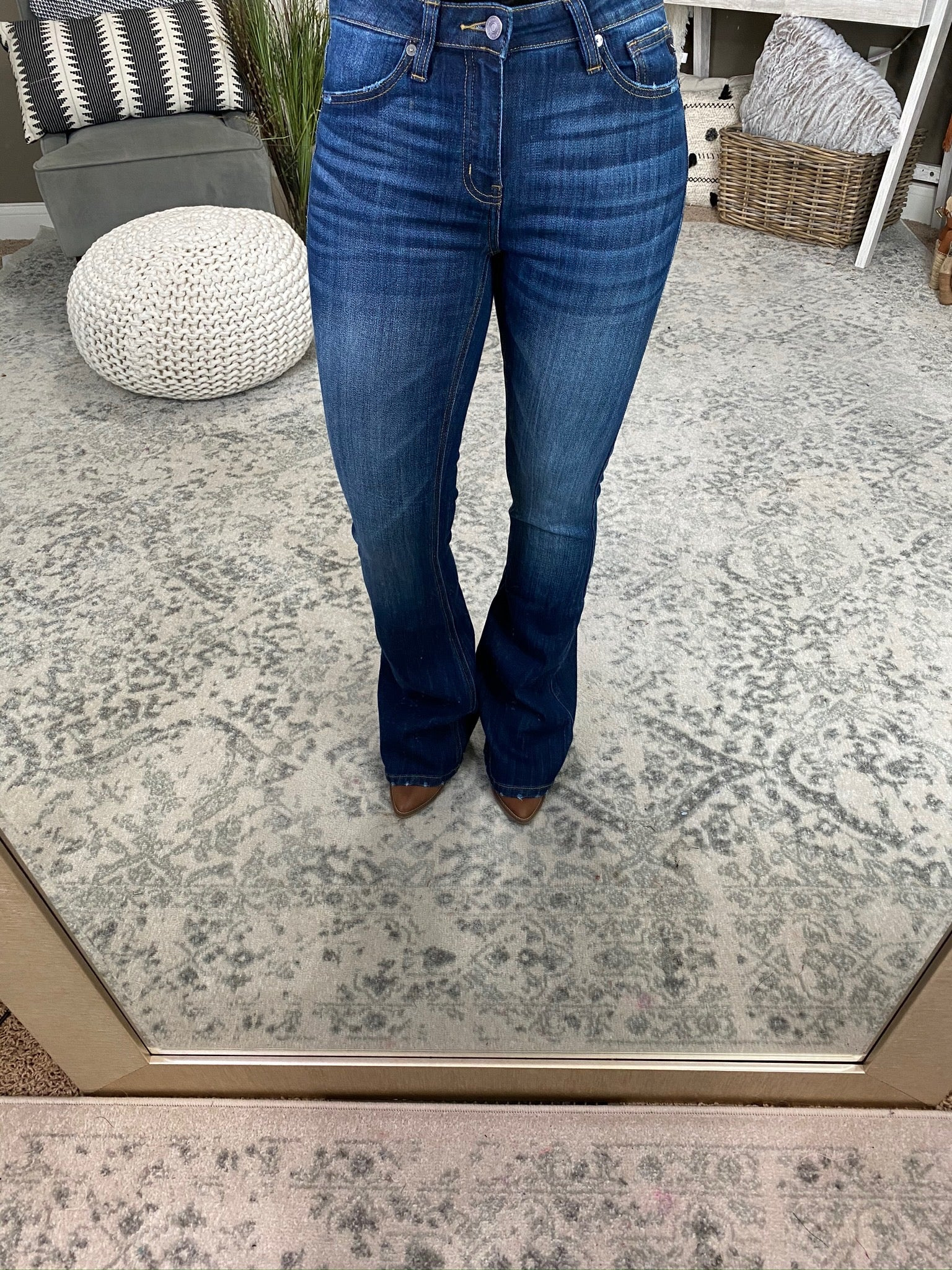 A Good Day Dark Wash Mid Rise Flare Jeans
