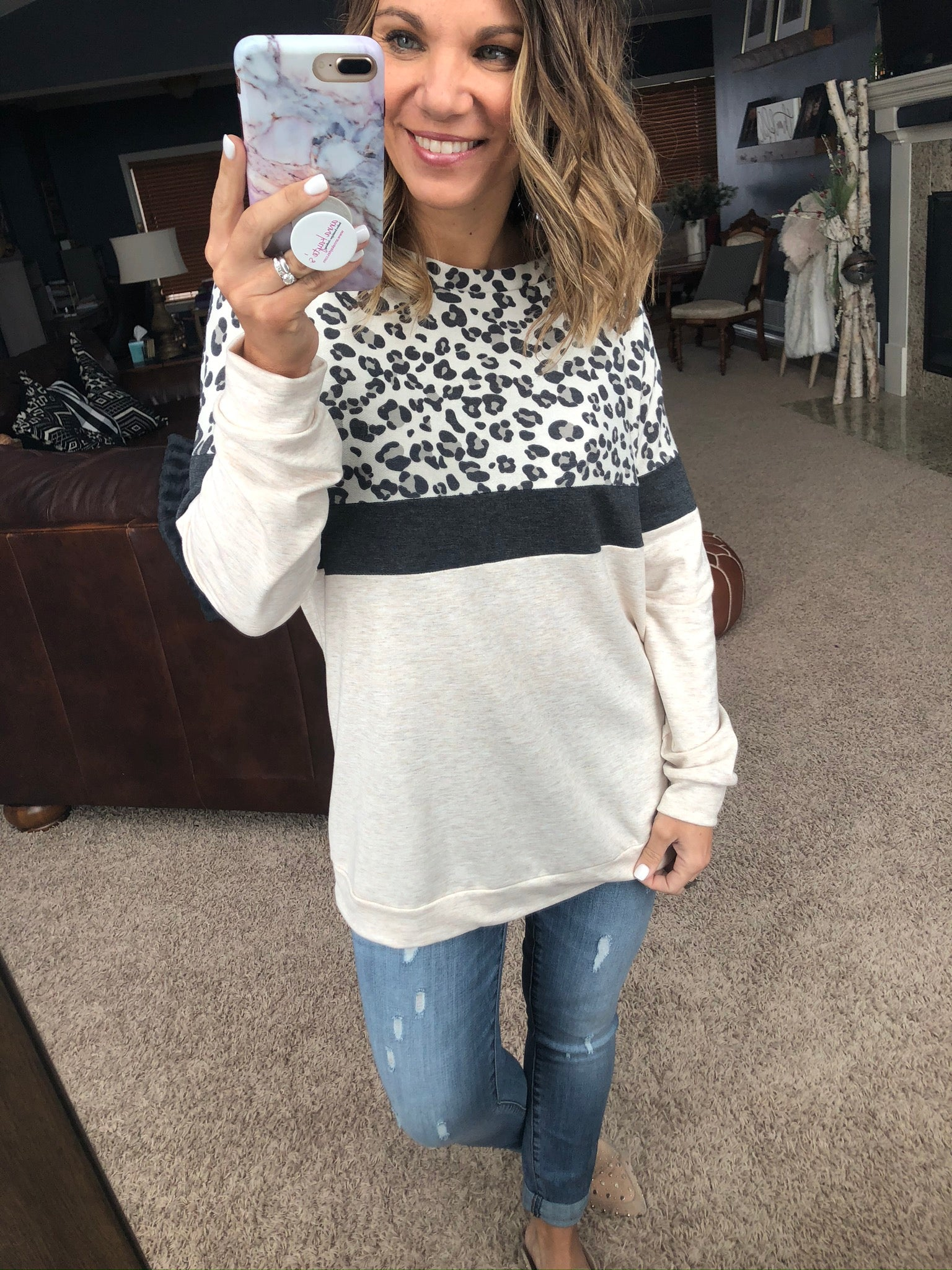 Simon says Leopard, Charcoal and Taupe Color Block Sweatshirt
