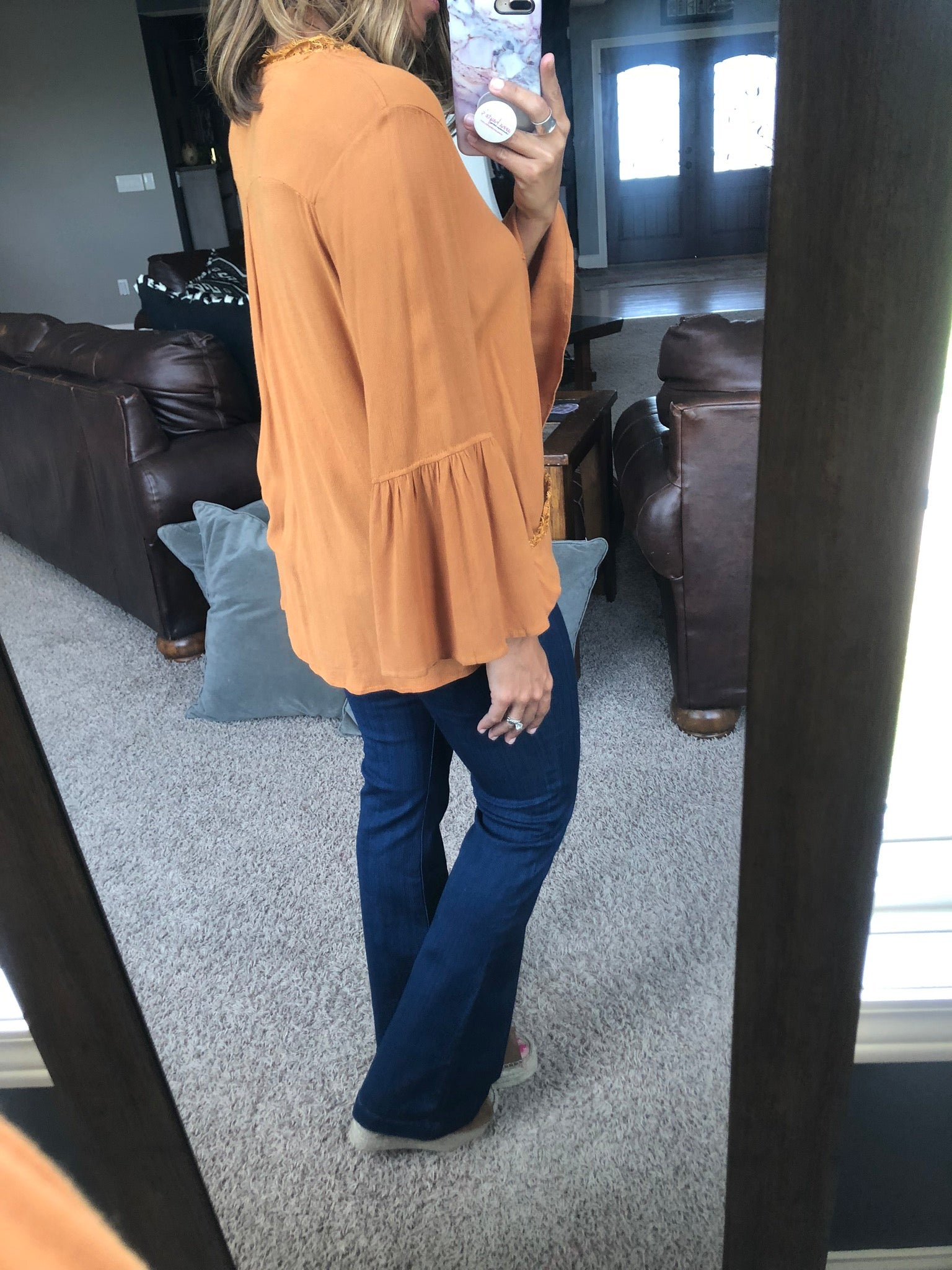 Plant Your Roots Drape Bell Sleeve Top- Ginger
