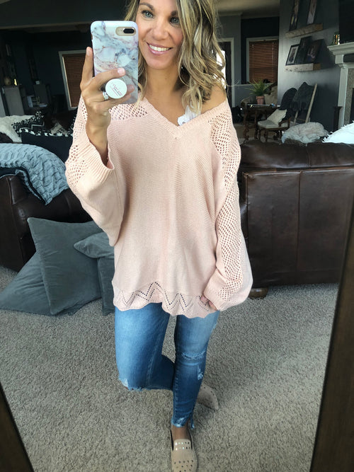 Time Passes By Light Pink V Neck Sweater w. Eyelet Detailing