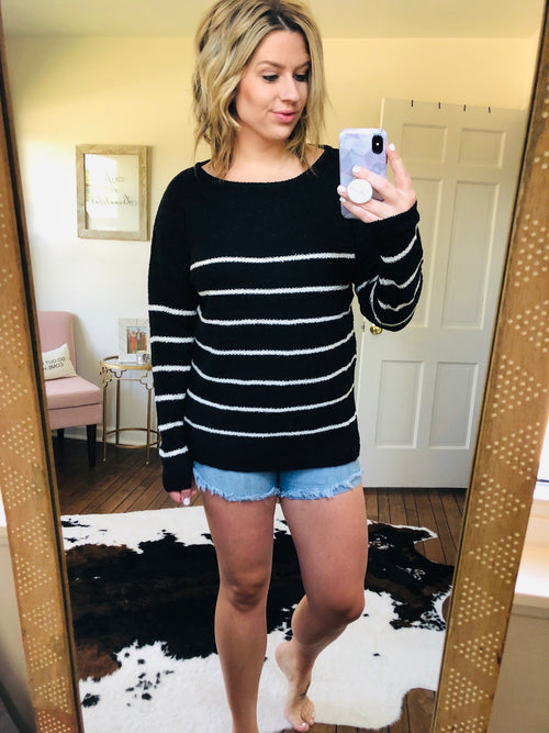 Set Sail Black and Cream Striped Sweater
