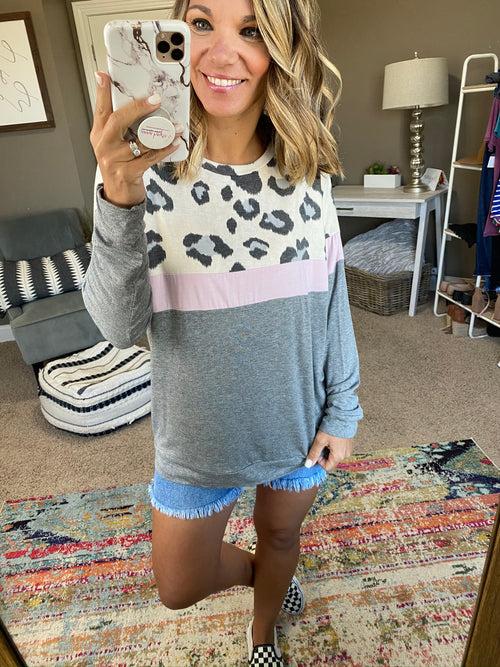 Feeling Elite Color Block Long Sleeve- Cheetah, Pink, Grey