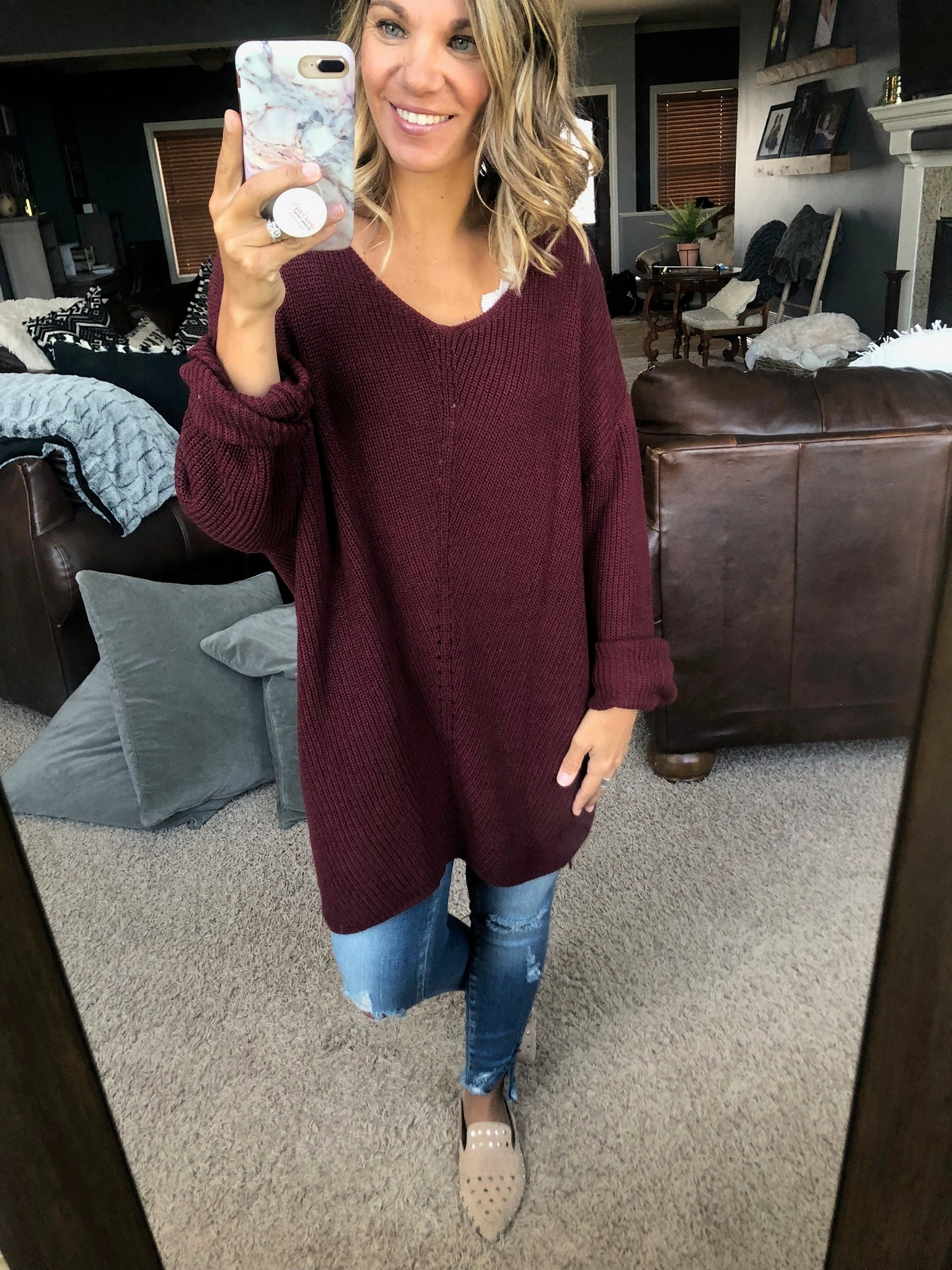 Lookin' At You Burgundy Tunic Sweater