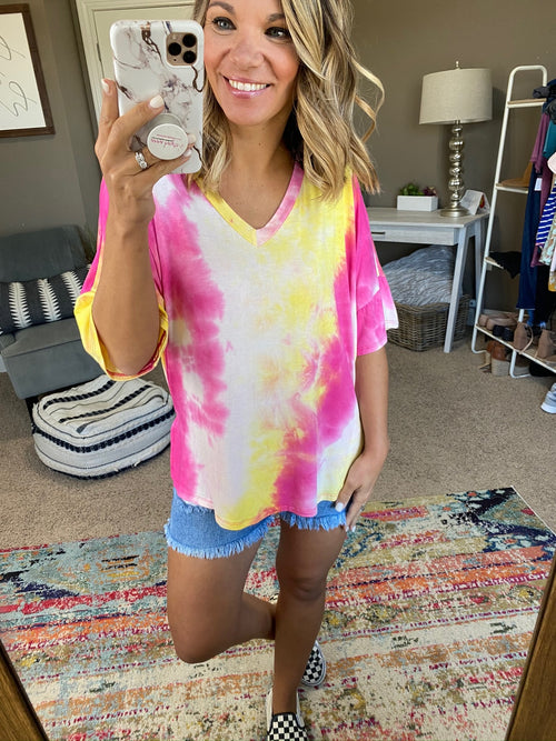 No Warning Pink and Yellow Tie Dye V-Neck Tee