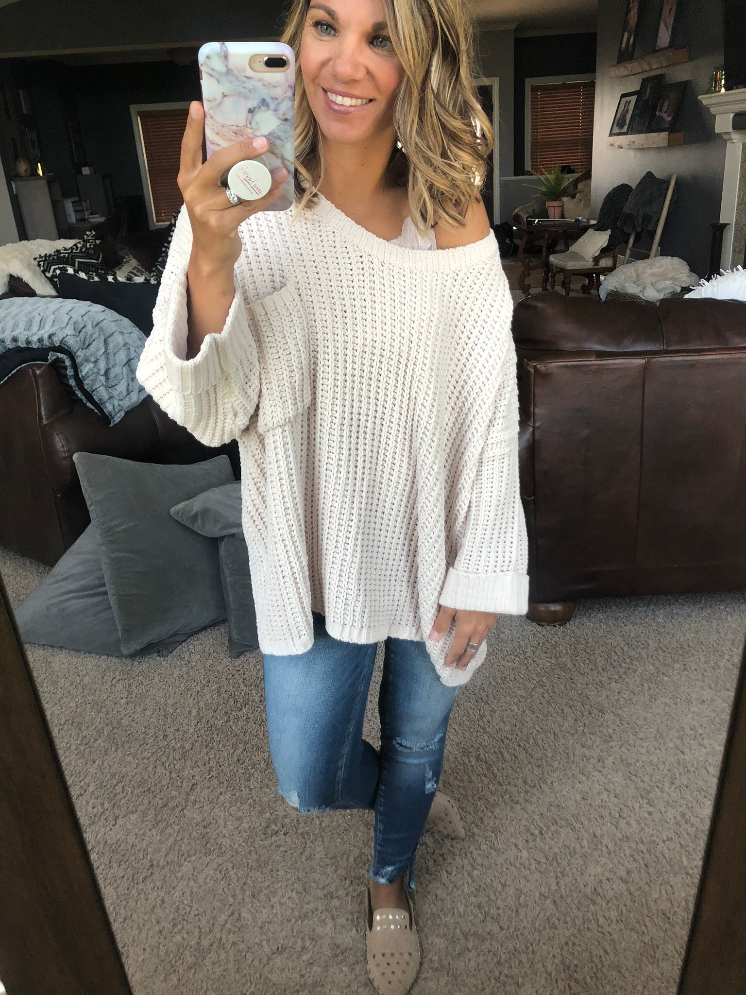 More To Me Chenille Oversized Sweater- Cream