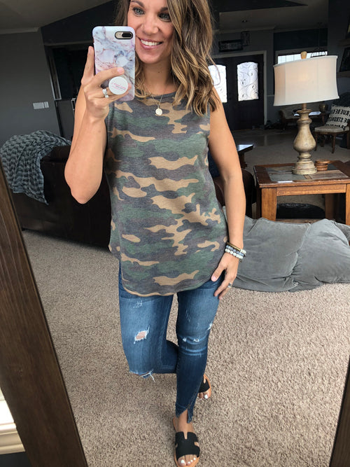 Playing Catch Up Camo Tank