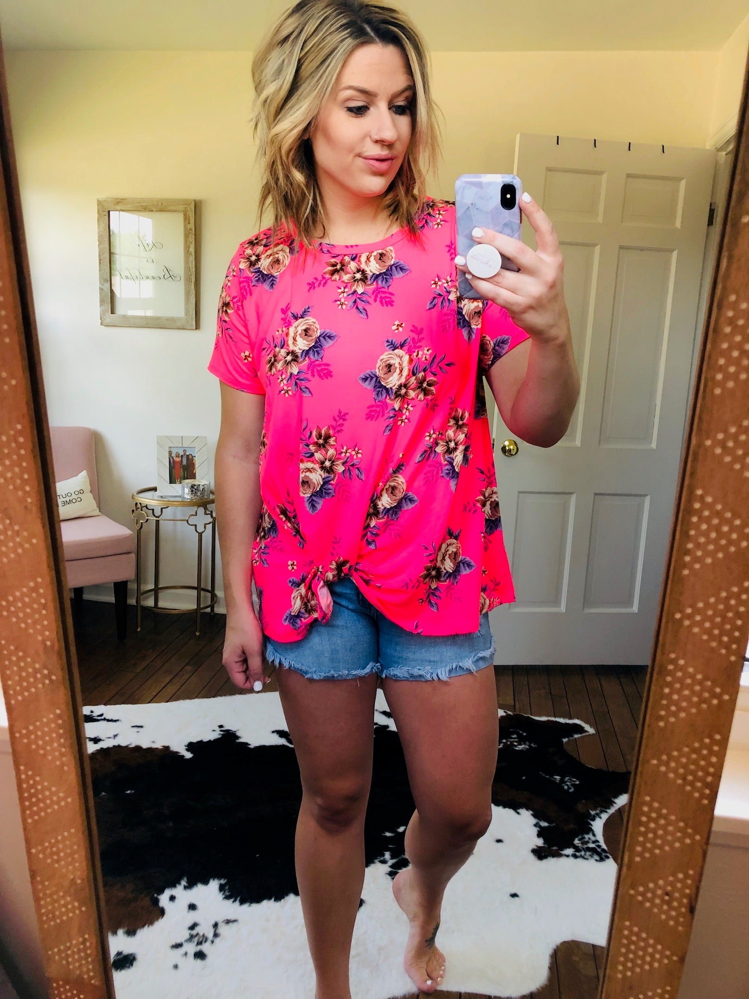 Last Forever Neon Pink Floral Tee with Front Twist