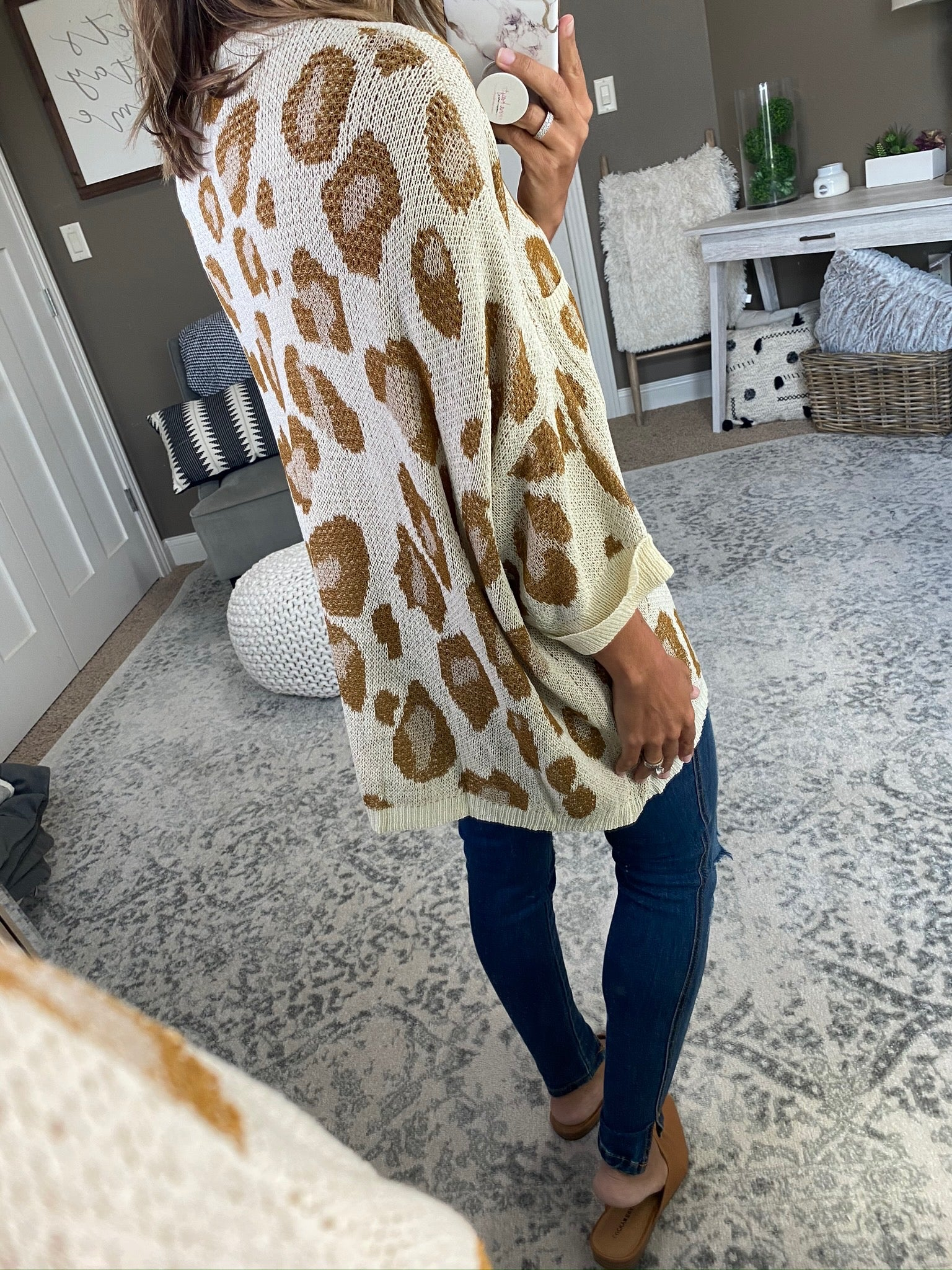 I Still Stay Knit Boxy Dolman Sweater with Leopard Print and Front Pocket- Multiple Options