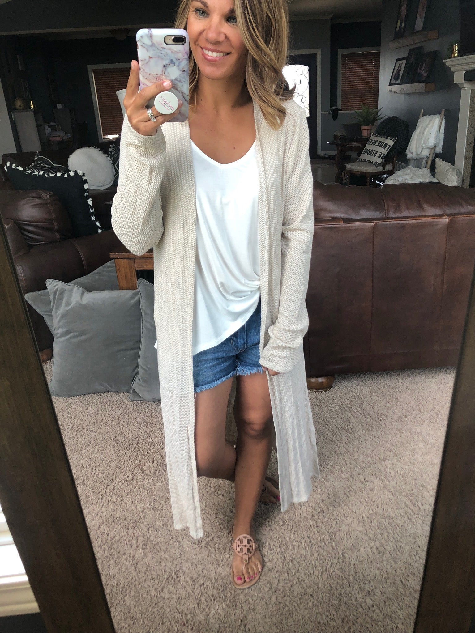 Curled Up With A Book Taupe Waffle Duster Length Cardigan