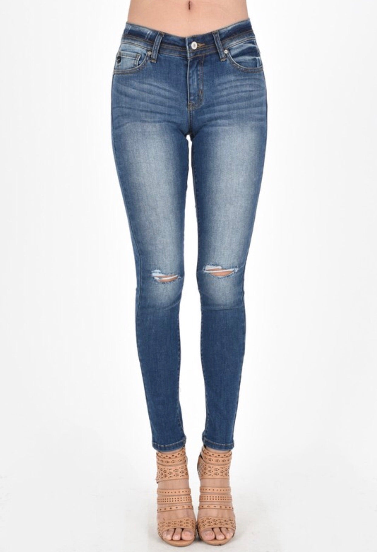 Gotta Get Next To You Distressed Knee Skinnies - Curvy