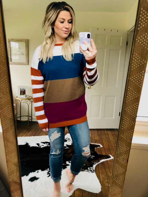 Here Tonight Teal, Tan and Fuchsia Striped Lightweight Knit Sweater