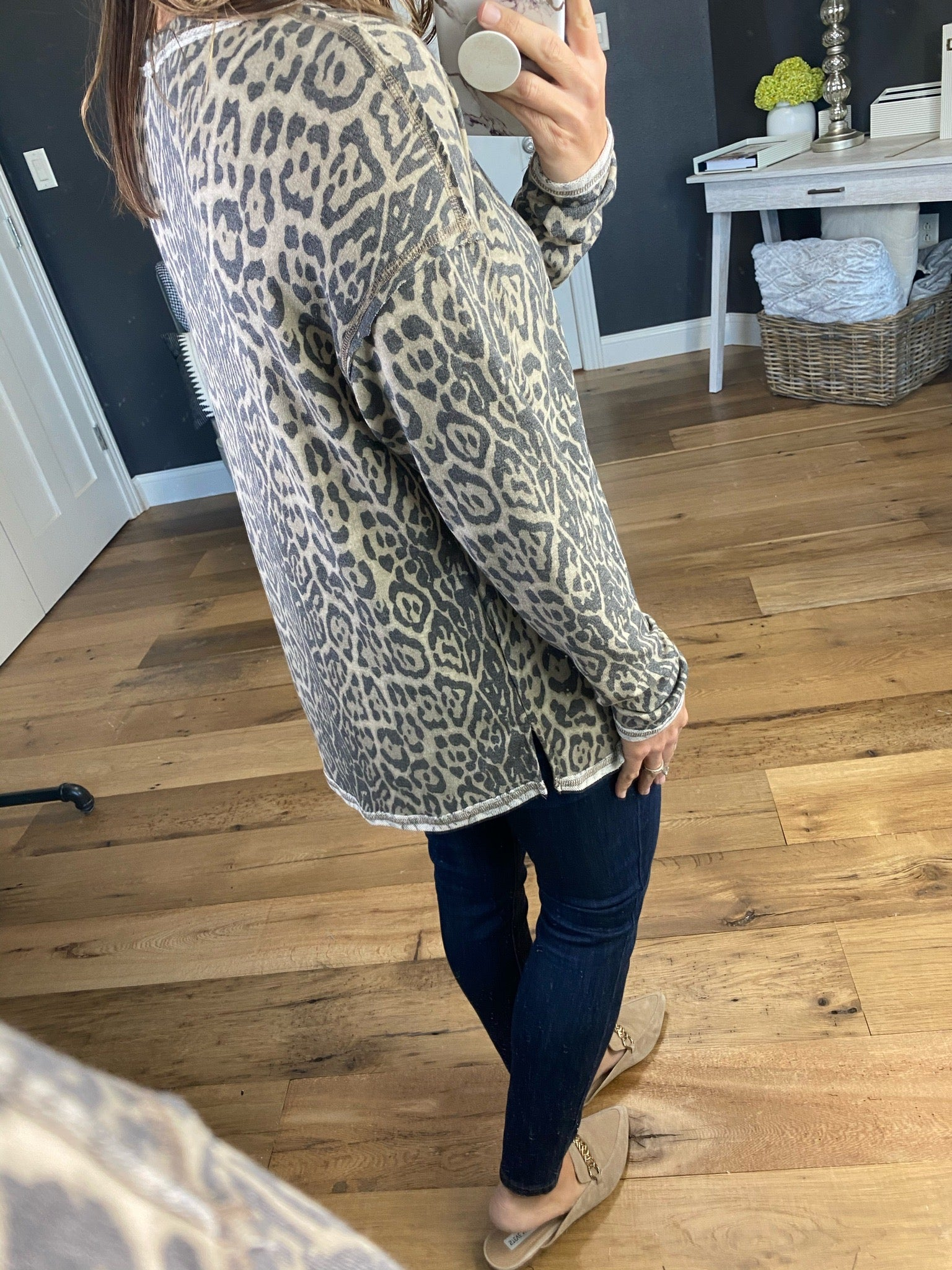 Moon Song Taupe Leopard V-Neck Long Sleeve with Exposed Seams