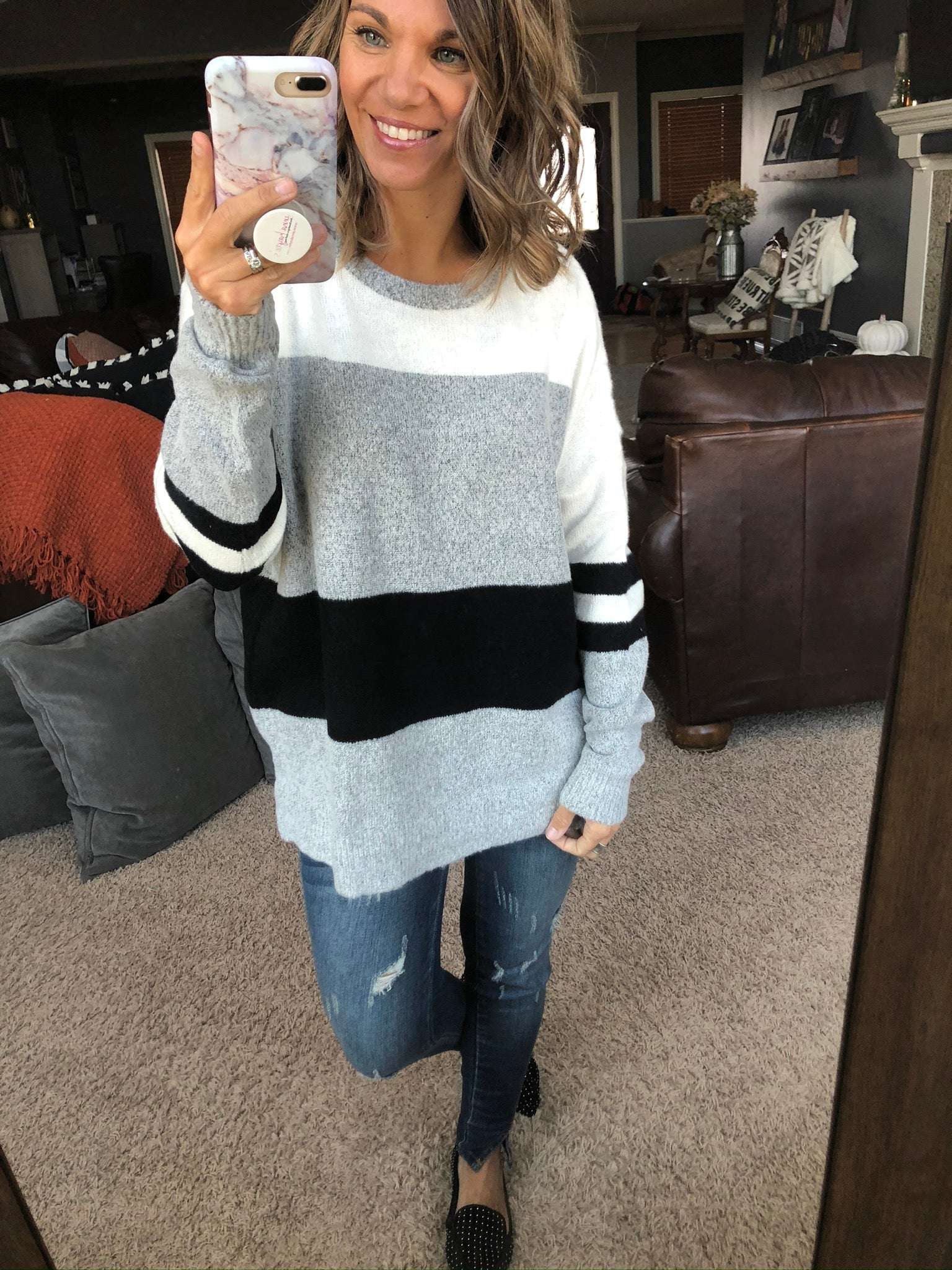 Nothing To Lose Ivory Sweater w/Black Varsity Stripes