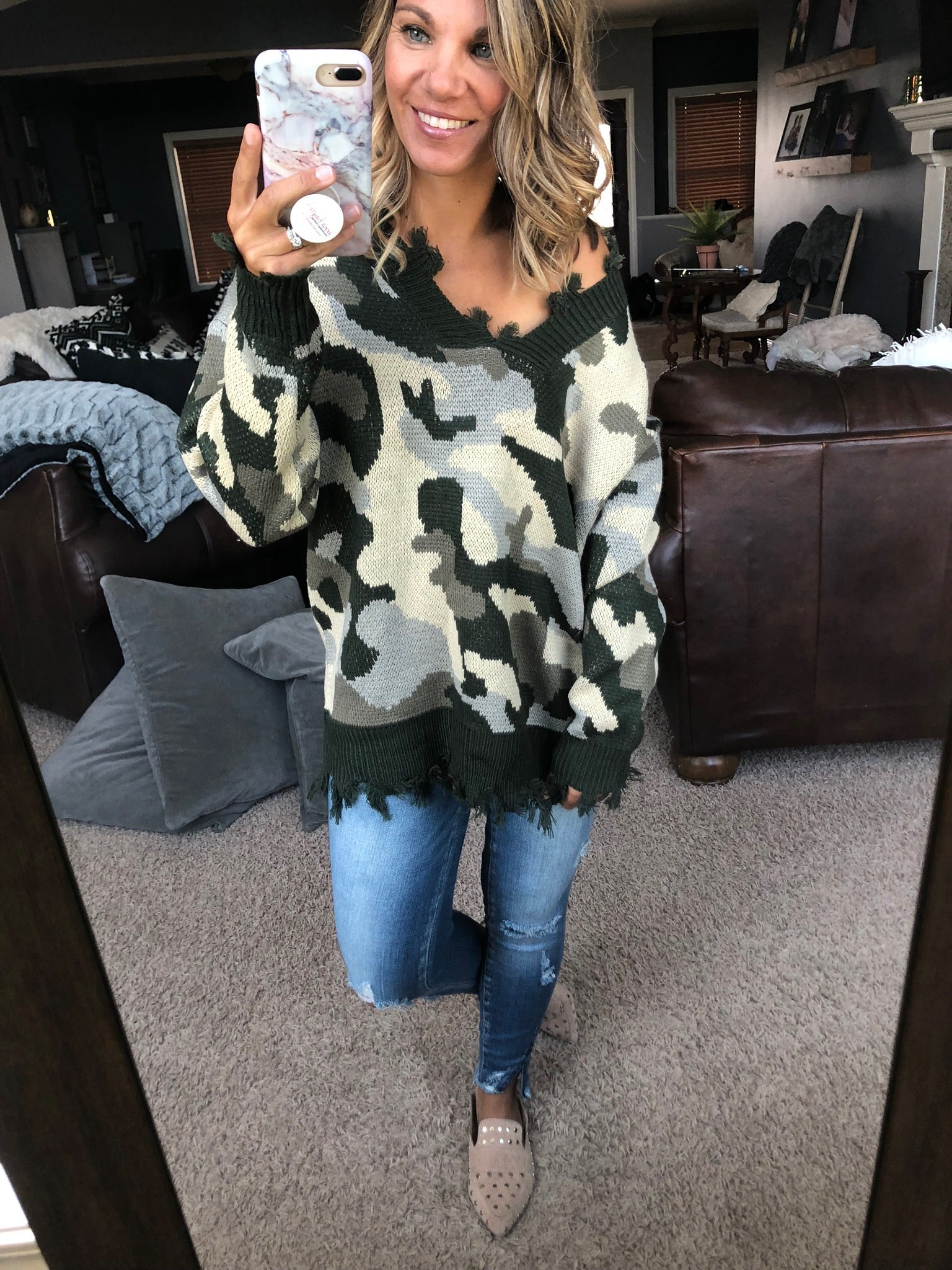 Higher Love Distressed Olive Camo V-Neck Sweater