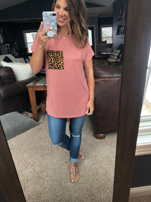 The Next Level Dusty Pink Tee with Leopard Pocket