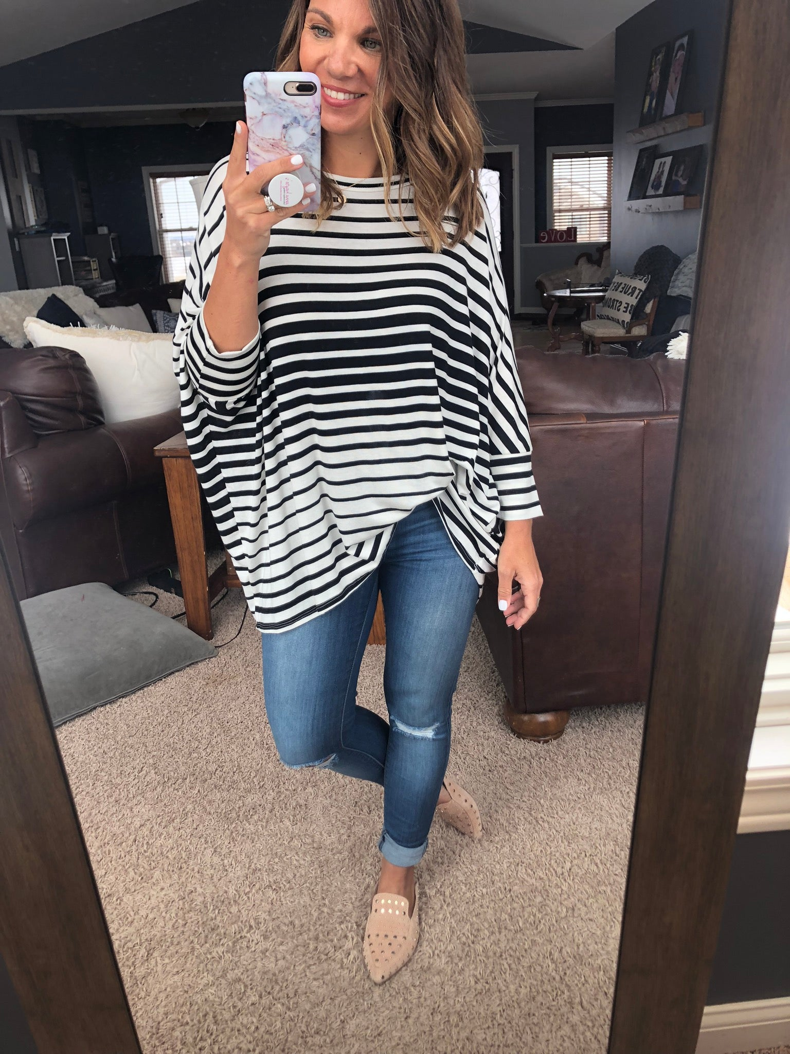 Soul Sister Black and White Striped Dolman