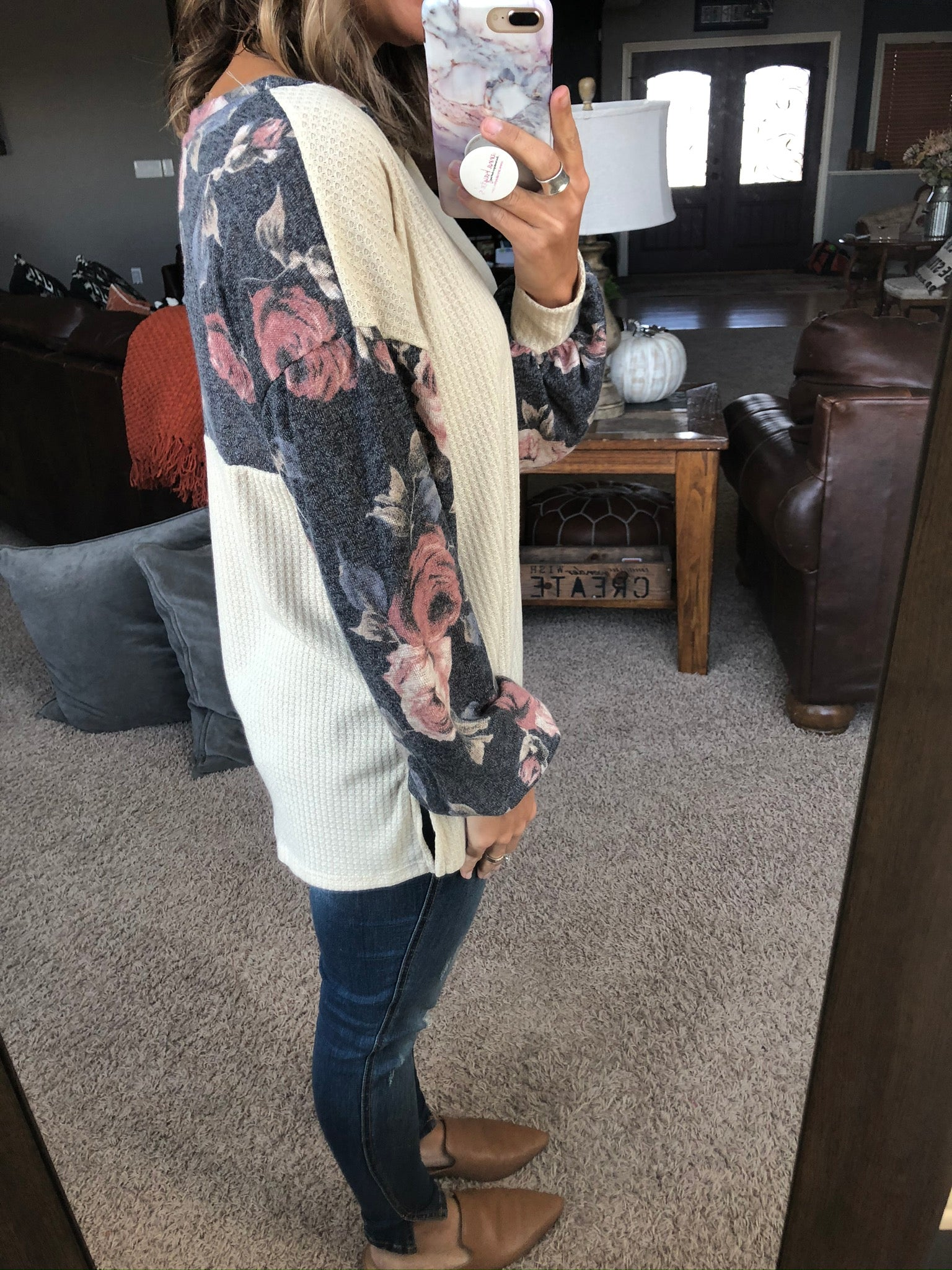 Fall Feelings Cream Waffle Long Sleeve w/ Navy Floral Detailing