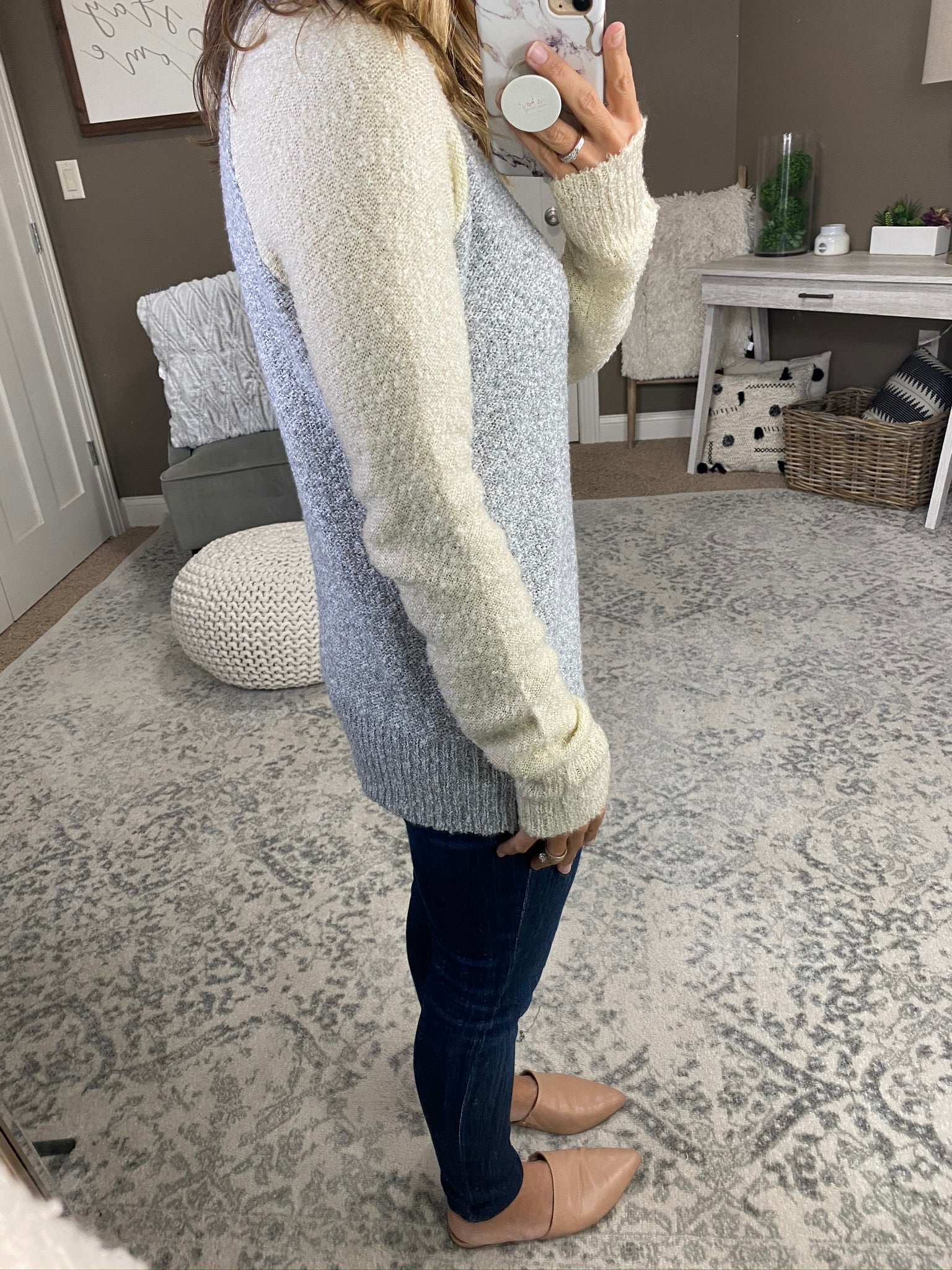 Getting Over You Textured Sweater- Heather Grey, Oatmeal