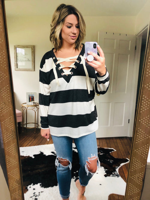 Southbound Striped Lace Up Long Sleeve- Charcoal and Ivory
