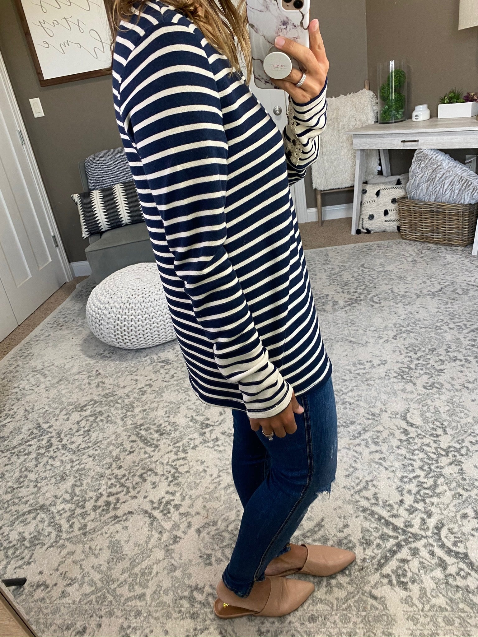 Can't Stop Now Navy & Ivory Striped Long Sleeve with Buttons & Lace Detailing