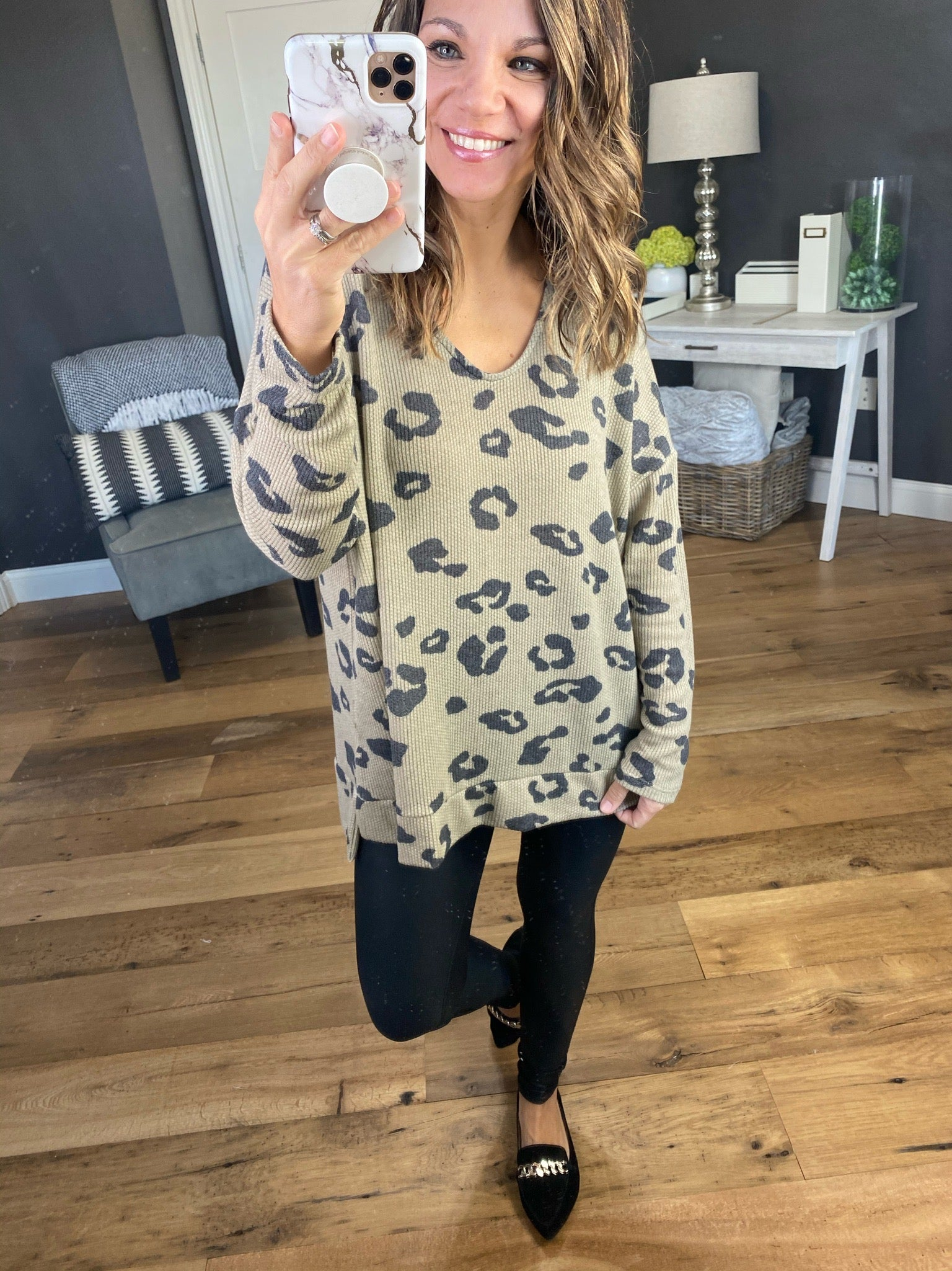 Play It Back Taupe Leopard V-Neck Long Sleeve Waffle
