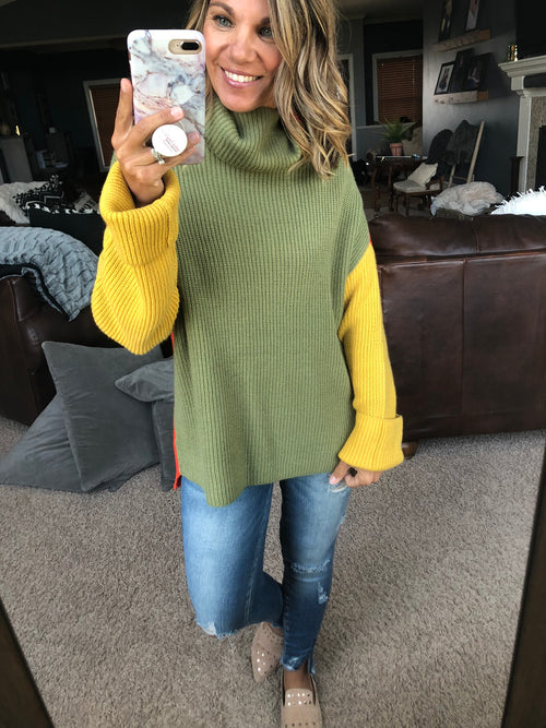 Retro Vibes Color Block Reversible Turtleneck Sweater